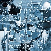 construction jigsaw - stock illustration