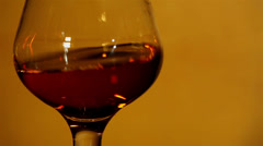Cognac, brandy in a glass Stock Footage