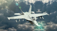 High altitude overhead shot of f-18 fighter Jet - stock footage