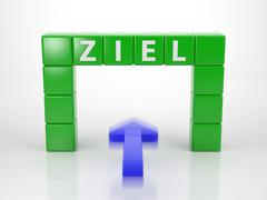 Stock Illustration of achieve your goal - series words out of letterdices language german