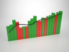 colored bar diagramm - tendency up - stock illustration