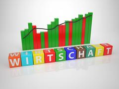 wirtschaft- series words out of letterdices - stock illustration
