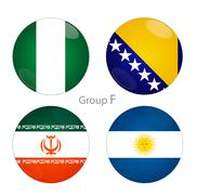 Group F - Nigeria, Bosnia, Iran, Argentina Stock Illustration