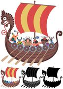Viking Ship on White - stock illustration