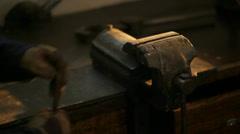 Metal Rod Hammering in an old metal Workshop Stock Footage