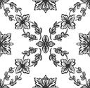 Stock Illustration of classical black flower graphic for unlimited repeat to larger pattern