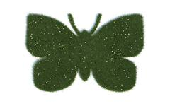 butterfly series symbols out of realistic grass - stock illustration