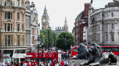Big Ben and Trafalgar Square Stock Footage