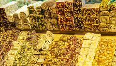 Turkish sweets at grand bazaar, istanbul Stock Photos