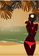 Girl`s silhouette on sunset tropic beach Stock Illustration