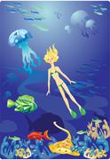 diving in red sea - girl and fishes - stock illustration