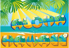 Postcard aloha hawaii Stock Illustration