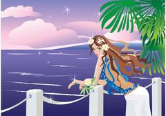 girl on tropical sea side looking sunset. - stock illustration