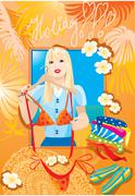 Beautiful blondy girl try on bikini and dreaming about holiday (vocation post Stock Illustration