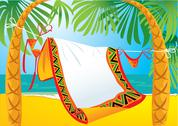 Stock Illustration of landscape frame with tropic beach