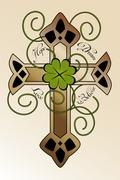 "Tattoo design with irish cross ""hope, dream, love, believe"" Stock Illustration"