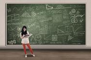 Stock Illustration of asian female student reading on written board in class
