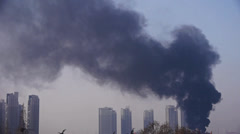 building on fire with smoke,china. - stock footage