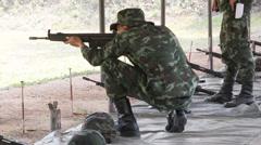 Firing HK33 assault rifle Stock Footage