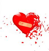 explode band-aid heart - stock illustration