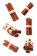 bunch of cinnamon sticks as a collage - stock photo