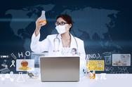 Stock Illustration of asian doctor analyse solution on blue world map