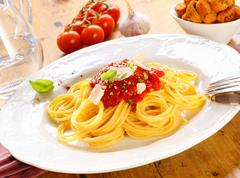 Plate of spaghetti bolognese Stock Photos