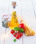 ingredients for spaghetti - stock photo