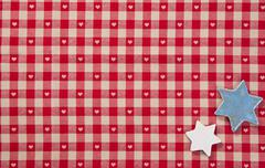 red checked fabric and stars - stock photo