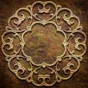 Gold metal pattern on paper backgrond (vintage collection) - stock illustration