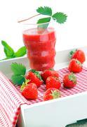 Fresh strawberries and strawberry juice Stock Photos