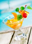 Tropical fruit cocktail appetiser Stock Photos