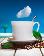 freshly brewed coffee at a tropical resort - stock illustration
