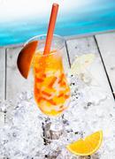 Fruity boba cocktail tea Stock Photos