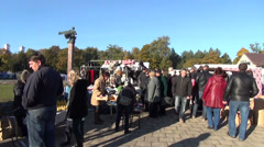 Stock Video Footage of annual craft fair crowd of people on the streets