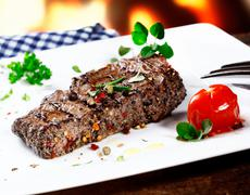 serving of grilled beef steak - stock photo