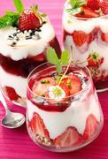 delicious strawberry desserts - stock photo