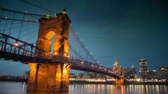 Cincinnati - John A. Roebling Suspension Bridge at Night Stock Footage