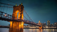 Stock Video Footage of Cincinnati - John A. Roebling Suspension Bridge at Night
