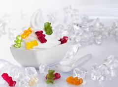 cold frozen yogurt dessert - stock photo