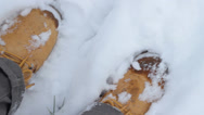 Stock Video Footage of Walking in Snow Extreme Close Up