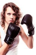 Urheilu boxer nainen mustat käsineet. Kuvituskuvat