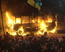 Burning bus Stock Footage