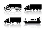 Stock Illustration of Set of transport icons - Freight transport