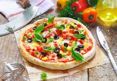 freshly cooked vegetarian pizza - stock photo