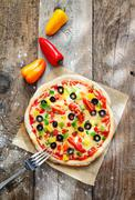 Delicious colourful homebaked pizza Stock Photos