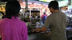 Close up prawns baking on the grill, street seafood, Asia, Thailand Stock Footage
