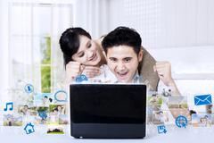 Asian couple winning photo competition at home Stock Illustration