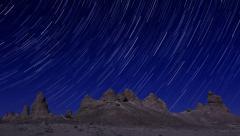 4K Startrails Canyon 13 Timelapse Trona Pinnacles Mojave Desert Stock Footage