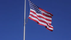 Waving American Flag - Low Angle Stock Footage
